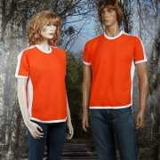 Oranje t shirt met wit contrast