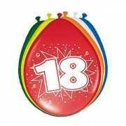 Gekleurde ballonnen 18 jaar 8 stuks