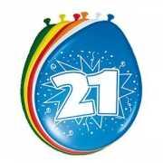 Gekleurde ballonnen 21 jaar 8 stuks