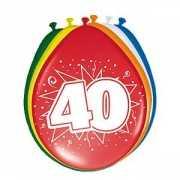 Gekleurde ballonnen 40 jaar 8 stuks