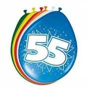 Gekleurde ballonnen 55 jaar 8 stuks