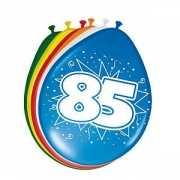 Gekleurde ballonnen 85 jaar 8 stuks