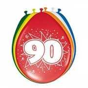 Gekleurde ballonnen 90 jaar 8 stuks