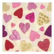Luxe hartjes servetten van 33 x 33 cm