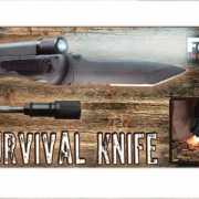 Survival mes met vuur en licht