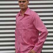 Roze geruit heren overhemd