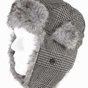 Warme grijze muts met oorflappen