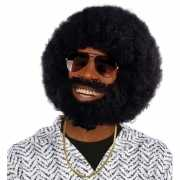 Ronde afro pruik, baard en snor