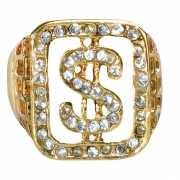 Pimp ring goud met dollarteken