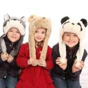 Kinder nep bont muts met panda beer