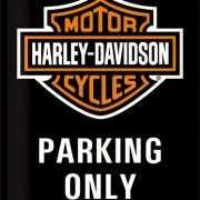 Metalen muurplaat Harley Davidson parkeren