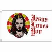 Vlag met tekst Jesus loves you