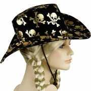 Zwarte hoed met gouden doodskoppen