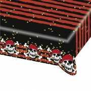 Plastic piraten tafelkleed rood met zwart
