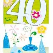 Groene vrolijke wenskaart 40 jaar