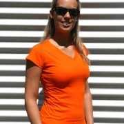 Dames shirts V hals bodyfit oranje