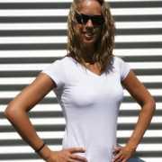 Dames shirts V hals bodyfit wit