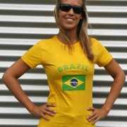 Geel dames shirtje met Brazilie vlag
