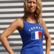 Blauw dames shirtje met Franse vlag