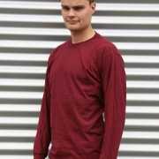 Gildan t shirt lange mouwen bordeaux