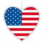 Decoratie hart met Amerikaanse vlag 14 cm