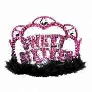 Sweet sixteen kroon met glitters