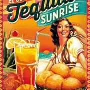 Retro muurplaat Tequila Sunrise 30 x 40 cm
