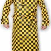 Geblokte jas skai leer geel en zwart