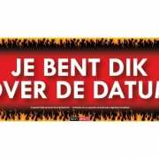 Sticky Devil stickers tekst Je bent dik over de datum