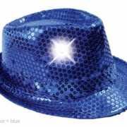 Blauw glitter hoedje met LED licht