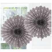 Decoratie waaiers zilver 45 cm