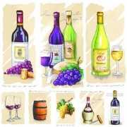 Wijn en druiven servetten 20 stuks