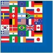 Papieren servetten met wereld vlaggen