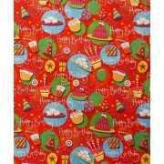 Cadeaupapier rood met taarten 70x200 cm