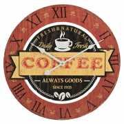 Houten wandklok koffie rood 40 cm