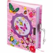 Roze dagboek met vlinders