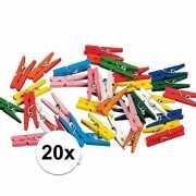20 gekleurde houten knijpertjes