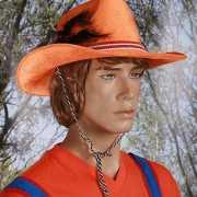 Oranje cowboy hoed met veer