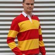 Rugbyhemd rood met geel
