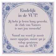 Delfts blauwe teksttegel vut