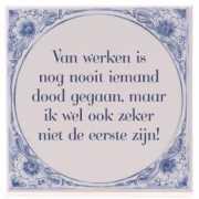 Delfts blauwe teksttegel werk