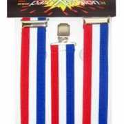 Rood/wit/blauw carnaval bretels
