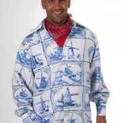 Heren overhemd Delfts blauwe print