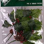 Kerst hulstblaadje decoratie 17 cm