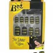 Nep nagels zwart met gele streep