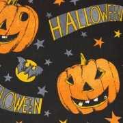 Zwart decoratie stof met Halloween print