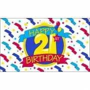 Feest vlag Happy Birthday 21 jaar