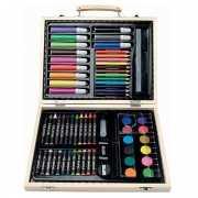 Kinder kleurtjes set in houten koffer