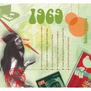 Verjaardagskaart met muziekhits uit 1969