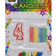 Cijfer kaarsen rood nummer 4